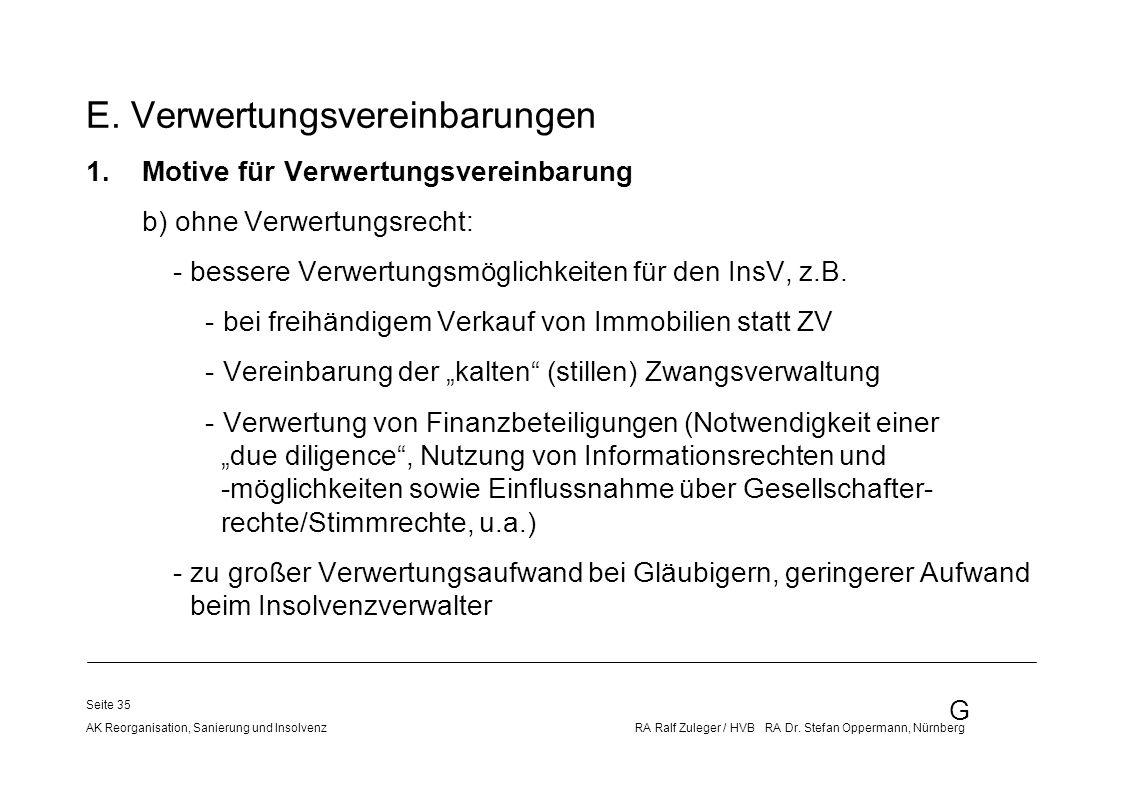 G AK Reorganisation, Sanierung und Insolvenz RA Ralf Zuleger / HVB RA Dr. Stefan Oppermann, Nürnberg Seite 35 E. Verwertungsvereinbarungen 1.Motive fü