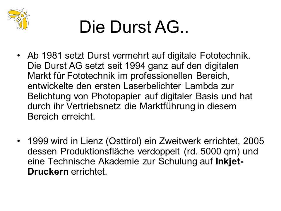 Ab 1981 setzt Durst vermehrt auf digitale Fototechnik. Die Durst AG setzt seit 1994 ganz auf den digitalen Markt für Fototechnik im professionellen Be