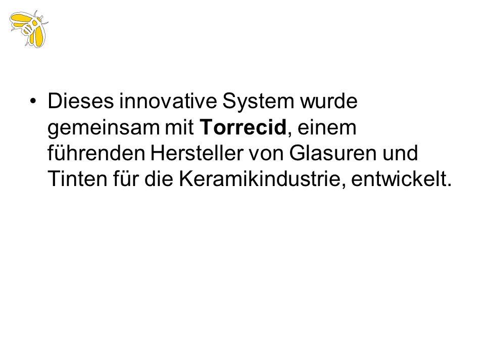 Dieses innovative System wurde gemeinsam mit Torrecid, einem führenden Hersteller von Glasuren und Tinten für die Keramikindustrie, entwickelt.