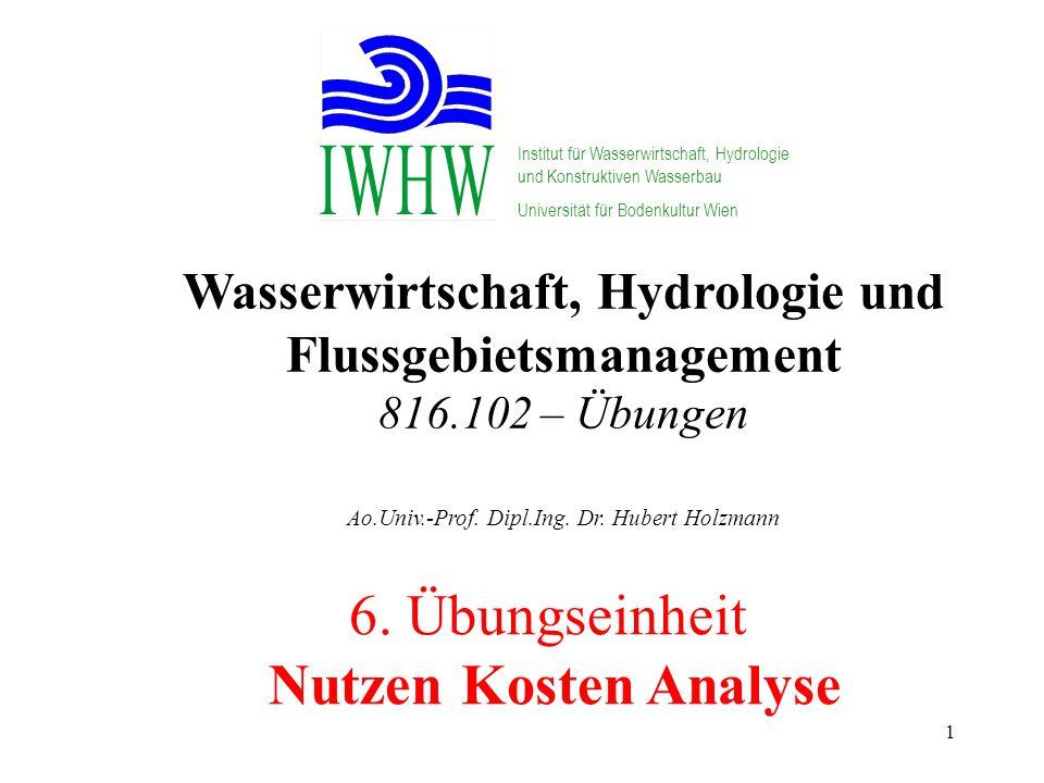 1 Wasserwirtschaft, Hydrologie und Flussgebietsmanagement 816.102 – Übungen Ao.Univ.-Prof. Dipl.Ing. Dr. Hubert Holzmann Institut für Wasserwirtschaft