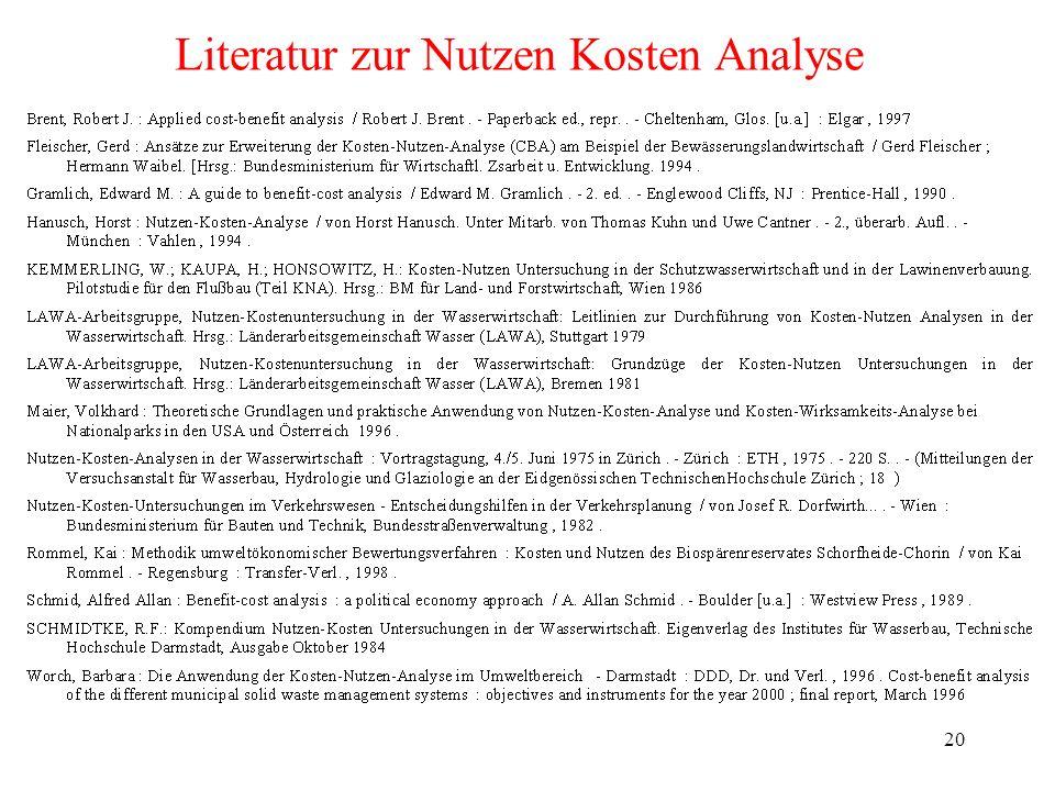 20 Literatur zur Nutzen Kosten Analyse