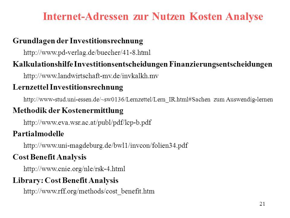 21 Internet-Adressen zur Nutzen Kosten Analyse Grundlagen der Investitionsrechnung http://www.pd-verlag.de/buecher/41-8.html Kalkulationshilfe Investi