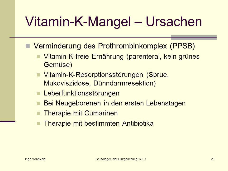 Inge Vonnieda Grundlagen der Blutgerinnung Teil 323 Vitamin-K-Mangel – Ursachen Verminderung des Prothrombinkomplex (PPSB) Vitamin-K-freie Ernährung (parenteral, kein grünes Gemüse) Vitamin-K-Resorptionsstörungen (Sprue, Mukoviszidose, Dünndarmresektion) Leberfunktionsstörungen Bei Neugeborenen in den ersten Lebenstagen Therapie mit Cumarinen Therapie mit bestimmten Antibiotika