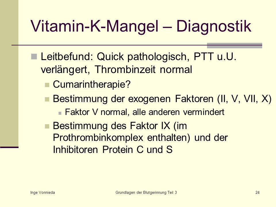 Inge Vonnieda Grundlagen der Blutgerinnung Teil 324 Vitamin-K-Mangel – Diagnostik Leitbefund: Quick pathologisch, PTT u.U.