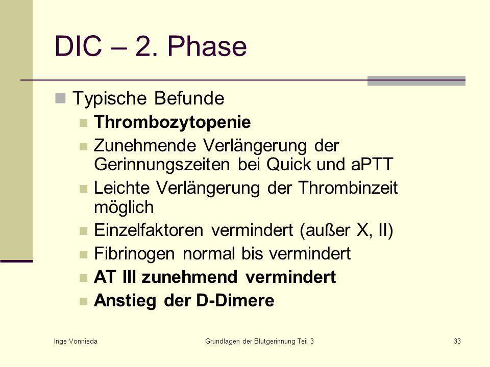 Inge Vonnieda Grundlagen der Blutgerinnung Teil 333 DIC – 2.