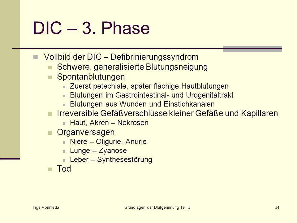 Inge Vonnieda Grundlagen der Blutgerinnung Teil 334 DIC – 3.
