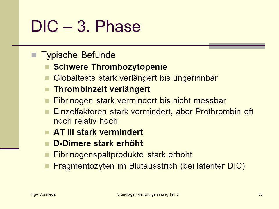 Inge Vonnieda Grundlagen der Blutgerinnung Teil 335 DIC – 3.