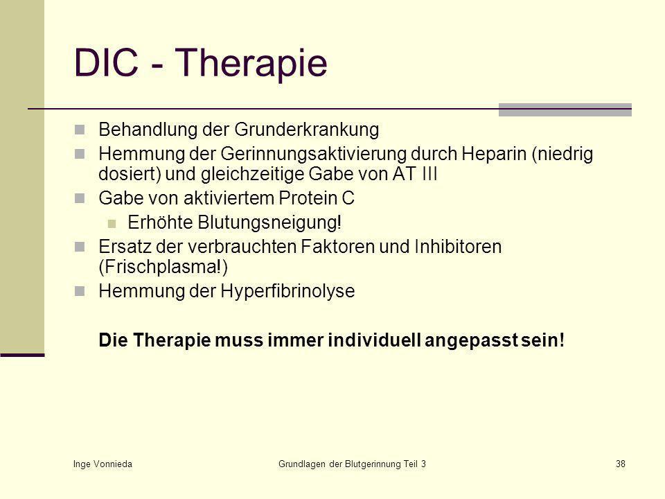 Inge Vonnieda Grundlagen der Blutgerinnung Teil 338 DIC - Therapie Behandlung der Grunderkrankung Hemmung der Gerinnungsaktivierung durch Heparin (niedrig dosiert) und gleichzeitige Gabe von AT III Gabe von aktiviertem Protein C Erhöhte Blutungsneigung.