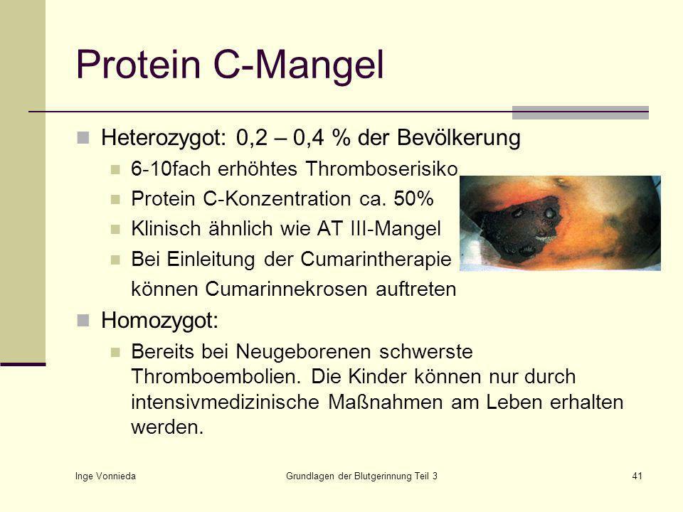 Inge Vonnieda Grundlagen der Blutgerinnung Teil 341 Protein C-Mangel Heterozygot: 0,2 – 0,4 % der Bevölkerung 6-10fach erhöhtes Thromboserisiko Protein C-Konzentration ca.