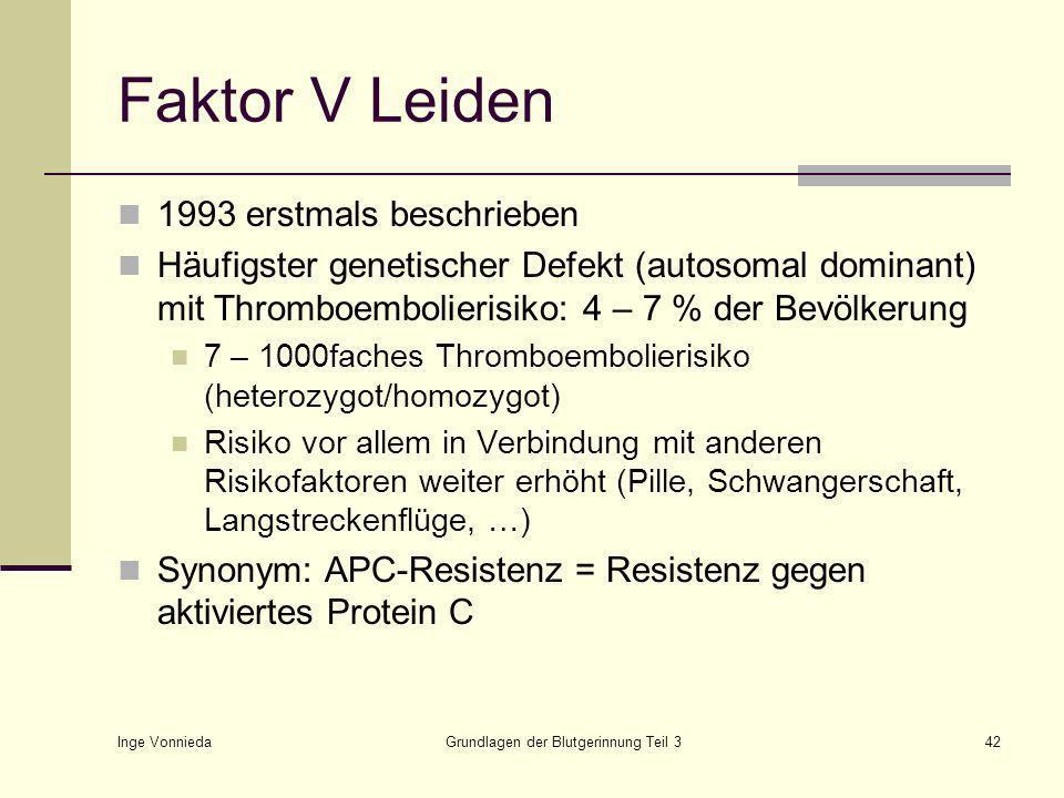 Inge Vonnieda Grundlagen der Blutgerinnung Teil 342 Faktor V Leiden 1993 erstmals beschrieben Häufigster genetischer Defekt (autosomal dominant) mit Thromboembolierisiko: 4 – 7 % der Bevölkerung 7 – 1000faches Thromboembolierisiko (heterozygot/homozygot) Risiko vor allem in Verbindung mit anderen Risikofaktoren weiter erhöht (Pille, Schwangerschaft, Langstreckenflüge, …) Synonym: APC-Resistenz = Resistenz gegen aktiviertes Protein C