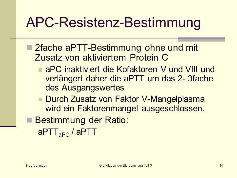 Inge Vonnieda Grundlagen der Blutgerinnung Teil 344 APC-Resistenz-Bestimmung 2fache aPTT-Bestimmung ohne und mit Zusatz von aktiviertem Protein C aPC inaktiviert die Kofaktoren V und VIII und verlängert daher die aPTT um das 2- 3fache des Ausgangswertes Durch Zusatz von Faktor V-Mangelplasma wird ein Faktorenmangel ausgeschlossen.