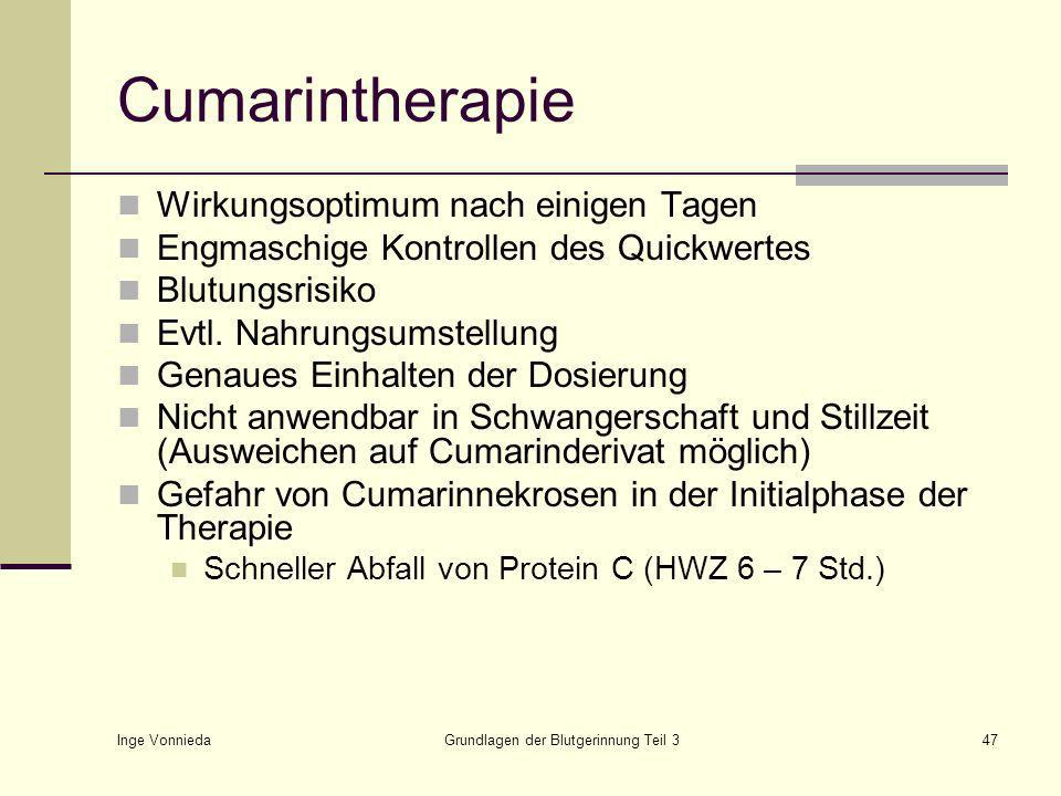 Inge Vonnieda Grundlagen der Blutgerinnung Teil 347 Cumarintherapie Wirkungsoptimum nach einigen Tagen Engmaschige Kontrollen des Quickwertes Blutungsrisiko Evtl.