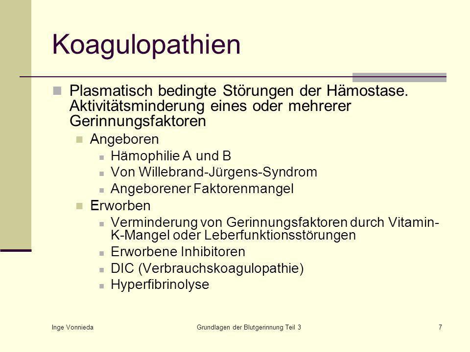 Inge Vonnieda Grundlagen der Blutgerinnung Teil 37 Koagulopathien Plasmatisch bedingte Störungen der Hämostase.