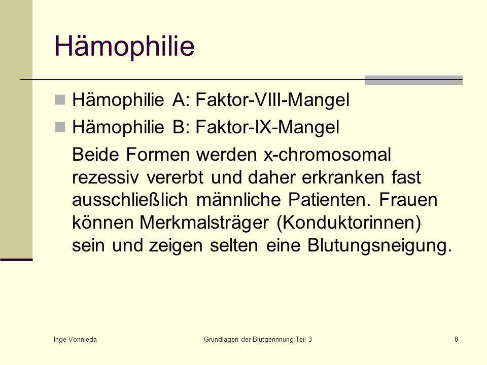Inge Vonnieda Grundlagen der Blutgerinnung Teil 38 Hämophilie Hämophilie A: Faktor-VIII-Mangel Hämophilie B: Faktor-IX-Mangel Beide Formen werden x-chromosomal rezessiv vererbt und daher erkranken fast ausschließlich männliche Patienten.