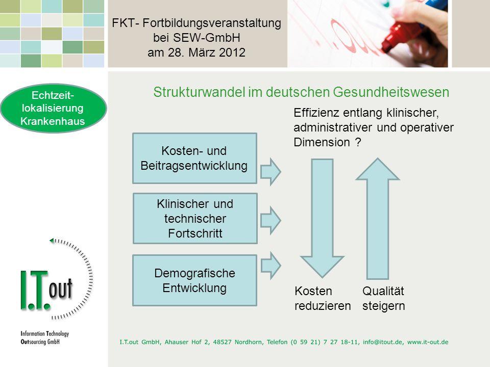 FKT- Fortbildungsveranstaltung bei SEW-GmbH am 28. März 2012 Strukturwandel im deutschen Gesundheitswesen Echtzeit- lokalisierung Krankenhaus Klinisch
