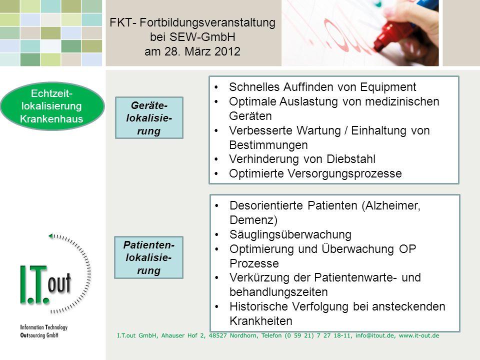 FKT- Fortbildungsveranstaltung bei SEW-GmbH am 28. März 2012 Echtzeit- lokalisierung Krankenhaus Geräte- lokalisie- rung Schnelles Auffinden von Equip