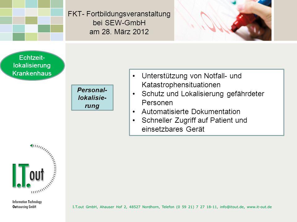 FKT- Fortbildungsveranstaltung bei SEW-GmbH am 28. März 2012 Echtzeit- lokalisierung Krankenhaus Personal- lokalisie- rung Unterstützung von Notfall-