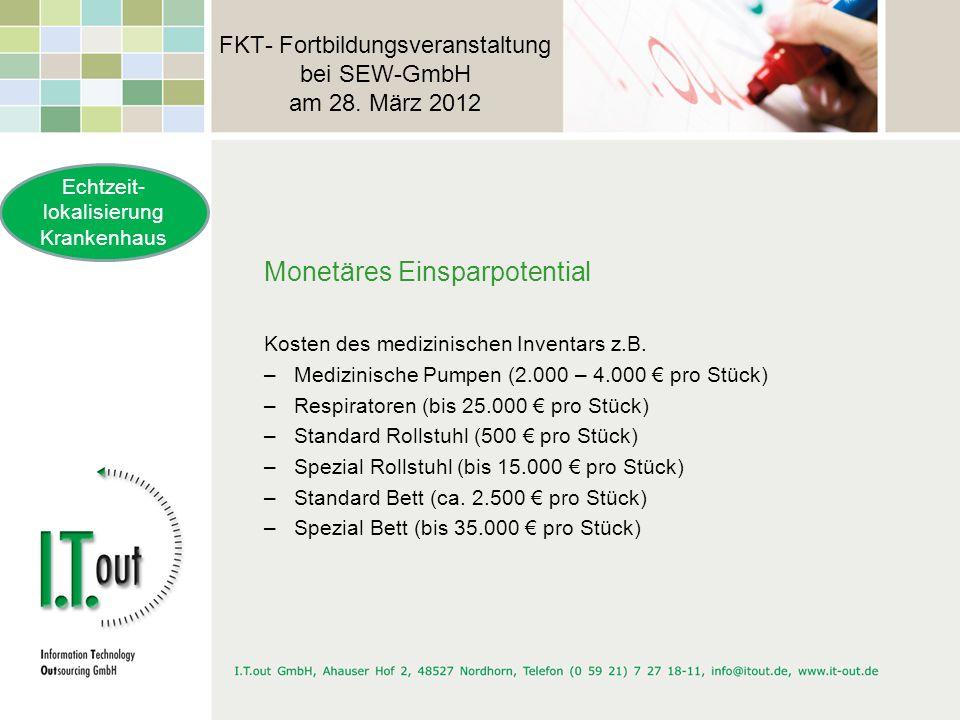 FKT- Fortbildungsveranstaltung bei SEW-GmbH am 28. März 2012 Monetäres Einsparpotential Kosten des medizinischen Inventars z.B. –Medizinische Pumpen (