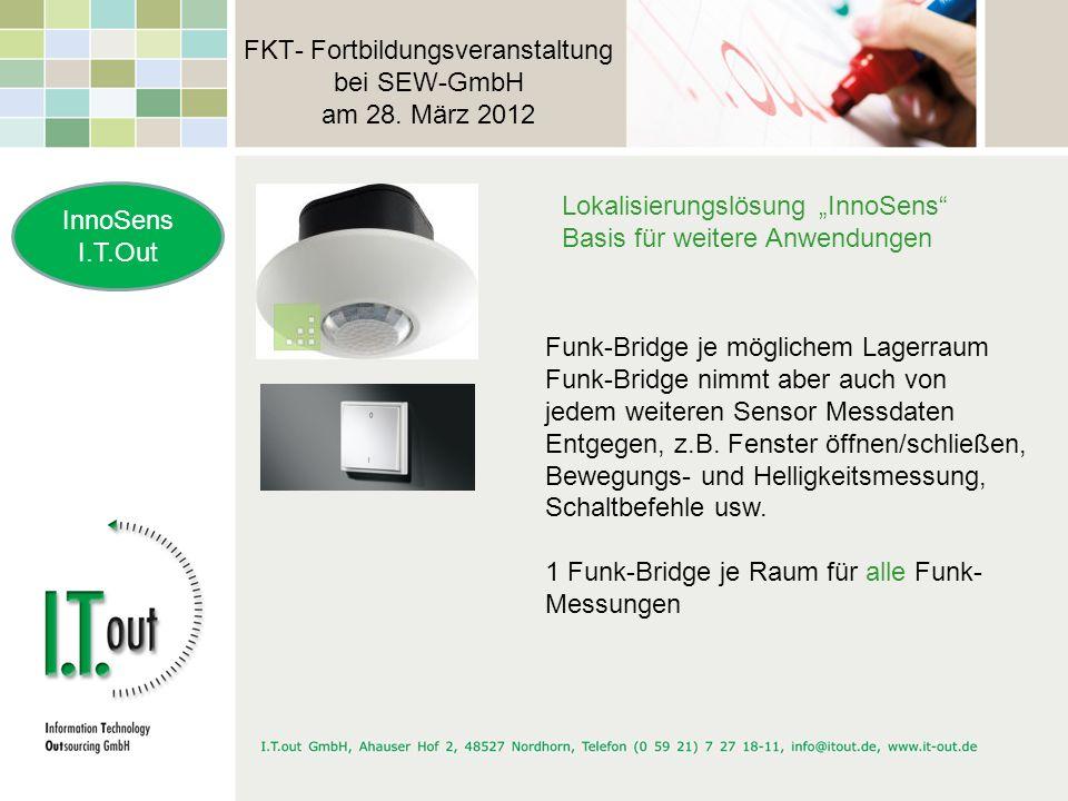 FKT- Fortbildungsveranstaltung bei SEW-GmbH am 28. März 2012 InnoSens I.T.Out Lokalisierungslösung InnoSens Basis für weitere Anwendungen Funk-Bridge