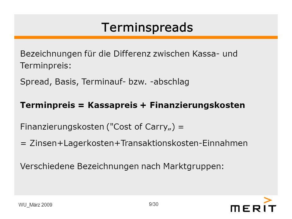 WU_März 2009 Terminspreads Bezeichnungen für die Differenz zwischen Kassa- und Terminpreis: Spread, Basis, Terminauf- bzw. -abschlag Terminpreis = Kas
