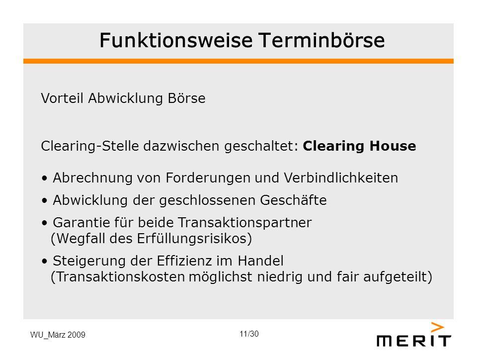 WU_März 2009 Funktionsweise Terminbörse Vorteil Abwicklung Börse Clearing-Stelle dazwischen geschaltet: Clearing House Abrechnung von Forderungen und