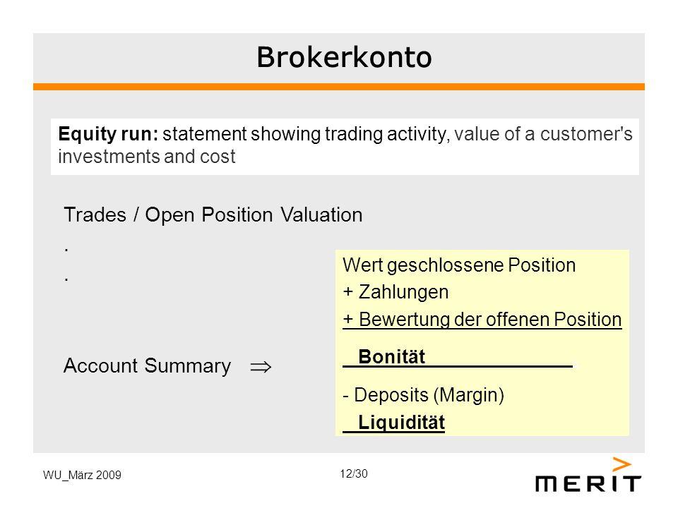 WU_März 2009 Brokerkonto Wert geschlossene Position + Zahlungen + Bewertung der offenen Position Bonität. - Deposits (Margin) Liquidität Equity run: s
