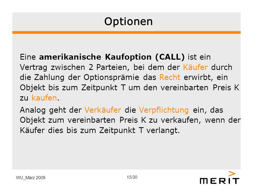 WU_März 2009 Optionen Eine amerikanische Kaufoption (CALL) ist ein Vertrag zwischen 2 Parteien, bei dem der Käufer durch die Zahlung der Optionsprämie