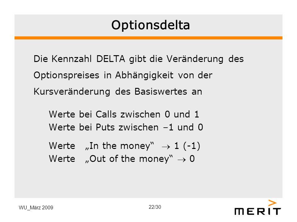 WU_März 2009 Optionsdelta Die Kennzahl DELTA gibt die Veränderung des Optionspreises in Abhängigkeit von der Kursveränderung des Basiswertes an Werte