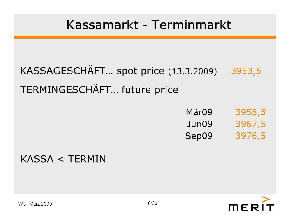WU_März 2009 Kassamarkt - Terminmarkt KASSAGESCHÄFT… spot price (13.3.2009) 3953,5 TERMINGESCHÄFT… future price Mär09 3958,5 Jun09 3967,5 Sep09 3976,5