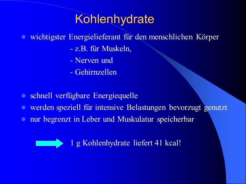 Kohlenhydrate wichtigster Energielieferant für den menschlichen Körper - z.B. für Muskeln, - Nerven und - Gehirnzellen schnell verfügbare Energiequell
