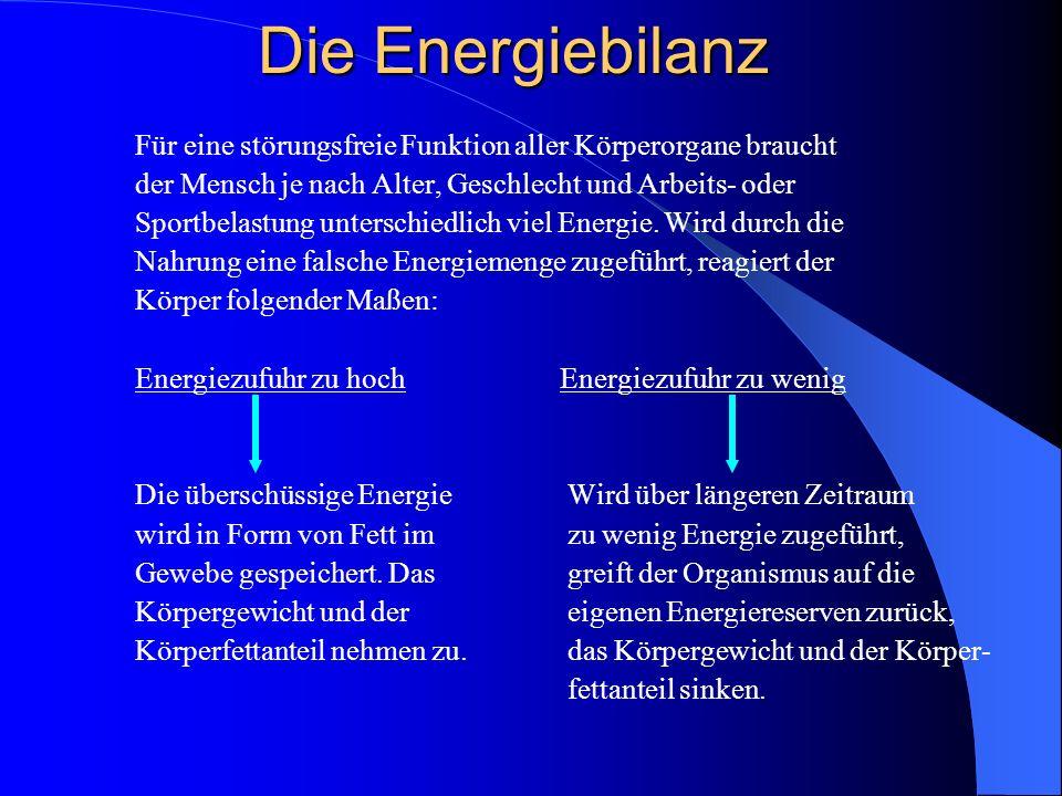 Die Energiebilanz Für eine störungsfreie Funktion aller Körperorgane braucht der Mensch je nach Alter, Geschlecht und Arbeits- oder Sportbelastung unt