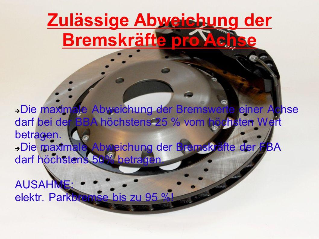 Zulässige Abweichung der Bremskräfte pro Achse Die maximale Abweichung der Bremswerte einer Achse darf bei der BBA höchstens 25 % vom höchsten Wert be