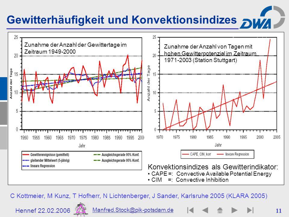Hennef 22.02.2006 Manfred.Stock@pik-potsdam.de 11 Gewitterhäufigkeit und Konvektionsindizes Konvektionsindizes als Gewitterindikator: CAPE =: Convecti