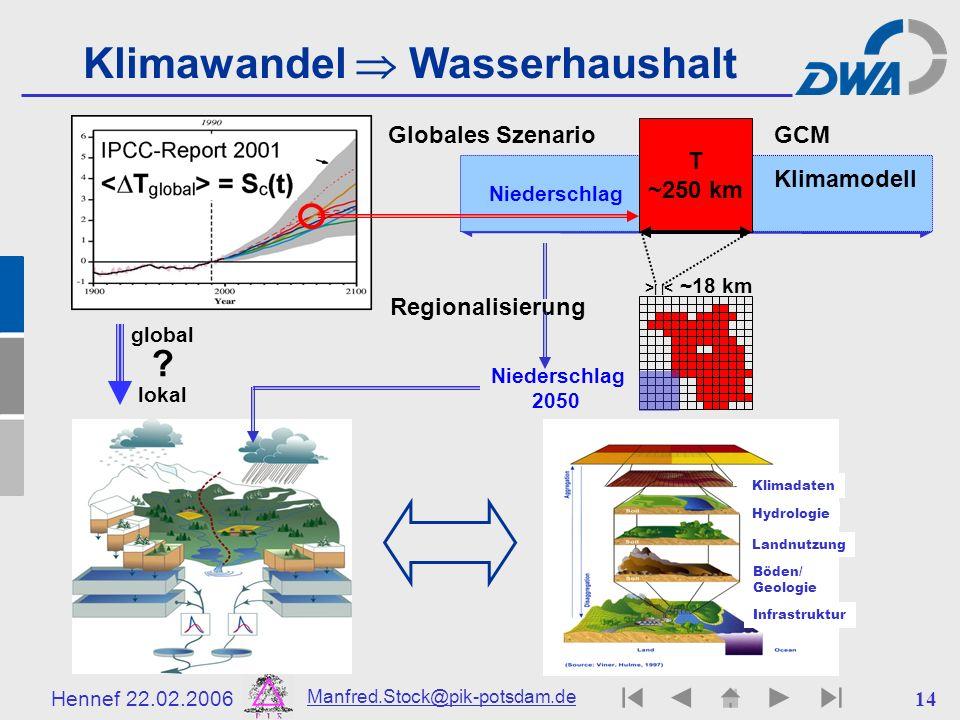 Hennef 22.02.2006 Manfred.Stock@pik-potsdam.de 14 Niederschlag > | | < ~18 km Regionalisierung Klimawandel Wasserhaushalt T ~250 km Globales SzenarioG