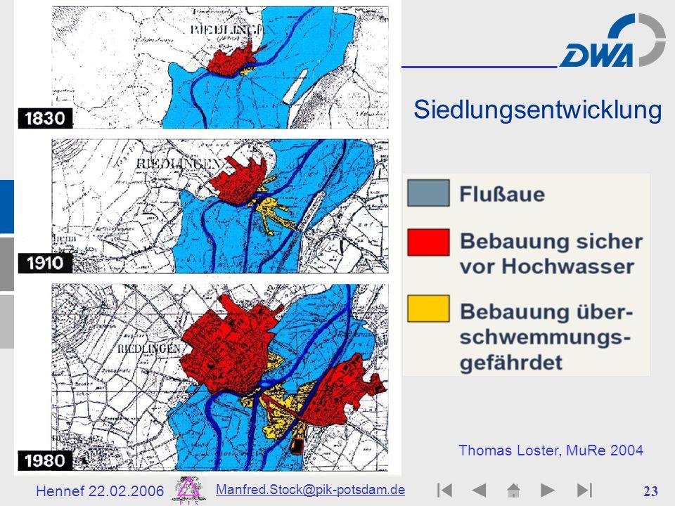 Hennef 22.02.2006 Manfred.Stock@pik-potsdam.de 24 Zuweisung ortsabhängiger Gefährdungsklassen Thomas Loster, MuRe 2004