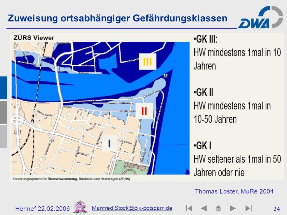 Hennef 22.02.2006 Manfred.Stock@pik-potsdam.de 25 safe unsafe Einflussfaktoren bei Schadensereignissen GEWÄSSER extreme Pegel & Strömungen Häufigkeit F(r,u,h) UFER- und FLUSSBETT UMBAU Extrem- Wetter KLIMALANDSCHAFT STARKREGEN extreme Abflüsse Gelände- & Bodenzustand SIEDLUNGEN RISIKO R(r,w,u,h) = F*L W Werte Schadens- potenzial Konsequenzen L(r,w) Schutz- potenzial r : regionale Lage w : Werteverteilung u : Strömungsgeschwindigkeit h : Wasserstandshöhe