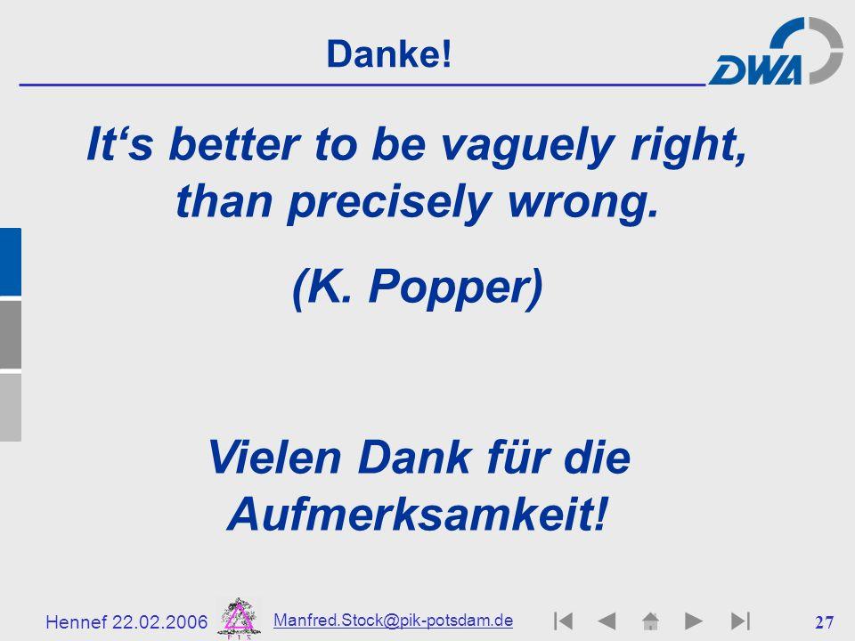 Hennef 22.02.2006 Manfred.Stock@pik-potsdam.de 28 Literatur- & Quellenhinweise F.-W.