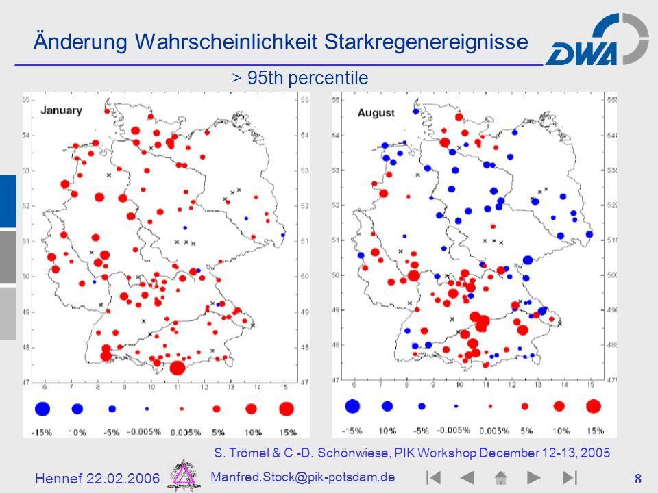 Hennef 22.02.2006 Manfred.Stock@pik-potsdam.de 8 Änderung Wahrscheinlichkeit Starkregenereignisse S. Trömel & C.-D. Schönwiese, PIK Workshop December