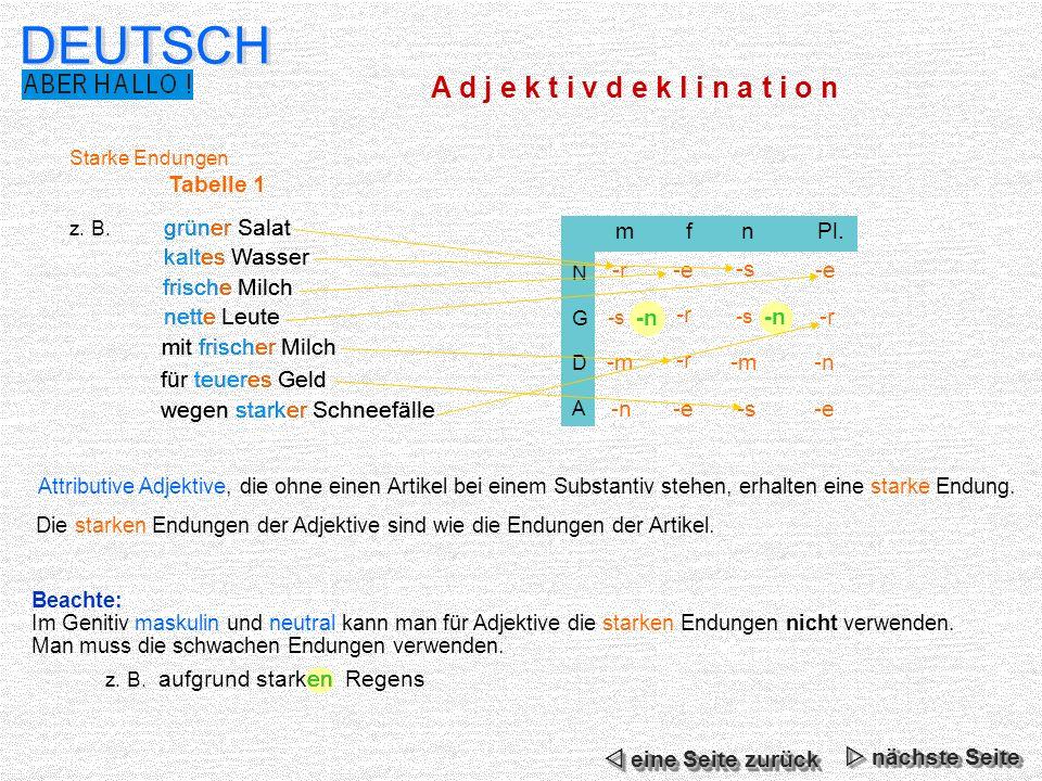 Schwache Endungen Tabelle 2 z.B. m fn Pl.