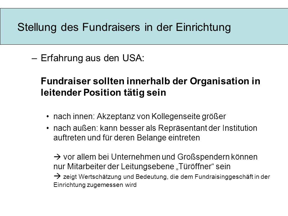 Stellung des Fundraisers in der Einrichtung –Erfahrung aus den USA: Fundraiser sollten innerhalb der Organisation in leitender Position tätig sein nac