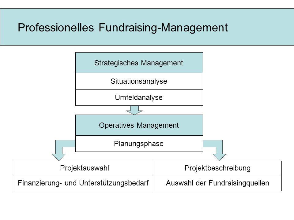 Professionelles Fundraising-Management Strategisches Management Situationsanalyse Operatives Management Umfeldanalyse Konkrete Durchführung Nachbereit