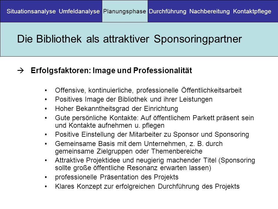 Die Bibliothek als attraktiver Sponsoringpartner Erfolgsfaktoren: Image und Professionalität Offensive, kontinuierliche, professionelle Öffentlichkeit