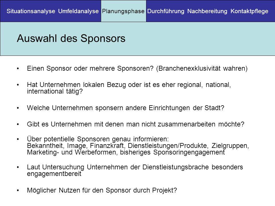 Auswahl des Sponsors Einen Sponsor oder mehrere Sponsoren? (Branchenexklusivität wahren) Hat Unternehmen lokalen Bezug oder ist es eher regional, nati