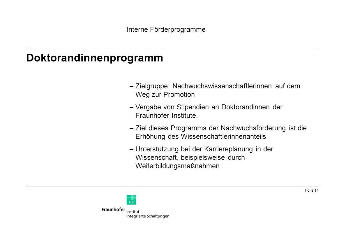 Folie 17 Doktorandinnenprogramm Interne Förderprogramme –Zielgruppe: Nachwuchswissenschaftlerinnen auf dem Weg zur Promotion –Vergabe von Stipendien an Doktorandinnen der Fraunhofer-Institute.