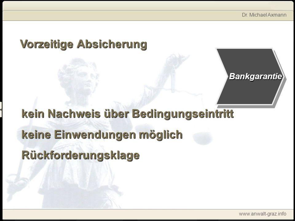 Dr. Michael Axmann www.anwalt-graz.info Bankgarantie Vorzeitige Absicherung kein Nachweis über Bedingungseintritt keine Einwendungen möglich Rückforde