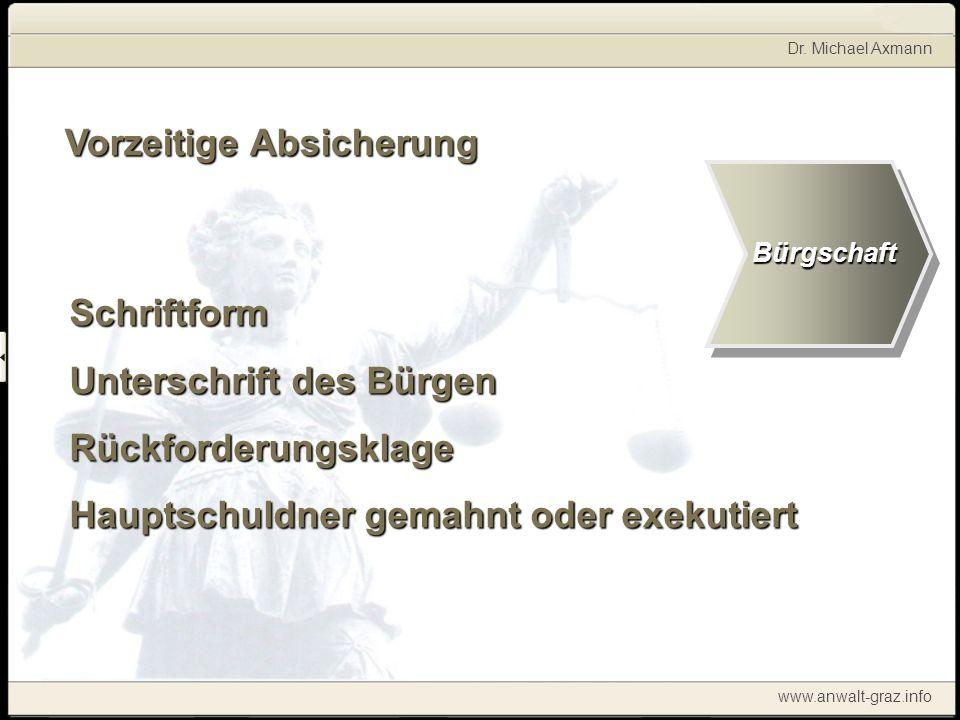 Dr. Michael Axmann www.anwalt-graz.info Vorzeitige Absicherung Schriftform Unterschrift des Bürgen Rückforderungsklage Hauptschuldner gemahnt oder exe