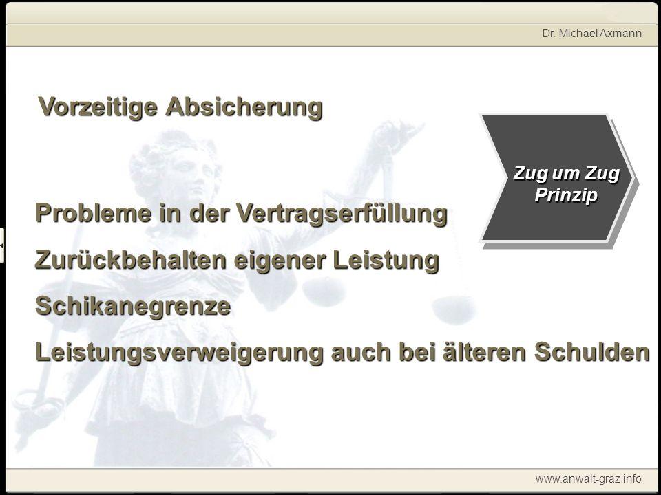 Dr. Michael Axmann www.anwalt-graz.info Vorzeitige Absicherung Probleme in der Vertragserfüllung Zurückbehalten eigener Leistung Schikanegrenze Leistu