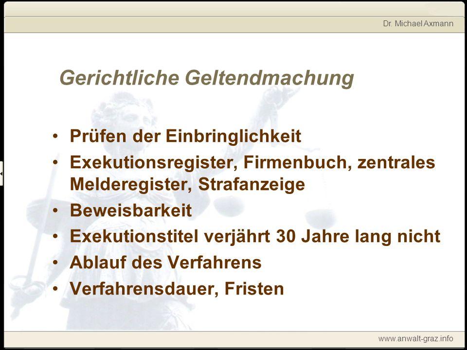 Dr. Michael Axmann www.anwalt-graz.info Gerichtliche Geltendmachung Prüfen der Einbringlichkeit Exekutionsregister, Firmenbuch, zentrales Melderegiste