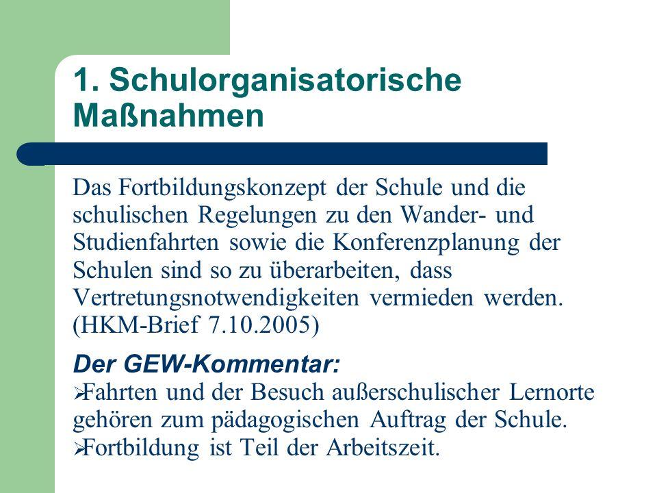 1. Schulorganisatorische Maßnahmen Das Fortbildungskonzept der Schule und die schulischen Regelungen zu den Wander- und Studienfahrten sowie die Konfe