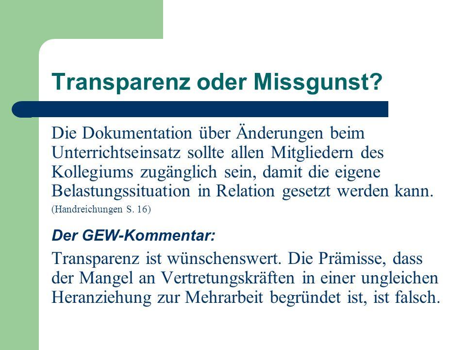 Transparenz oder Missgunst? Die Dokumentation über Änderungen beim Unterrichtseinsatz sollte allen Mitgliedern des Kollegiums zugänglich sein, damit d